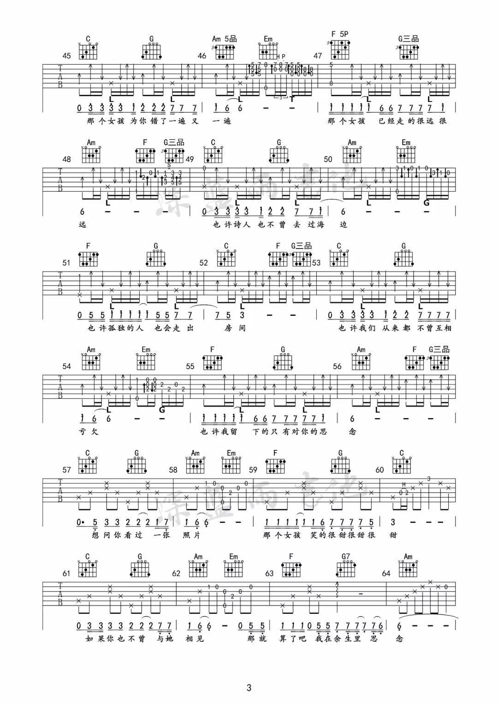 《那个女孩》张泽熙by深蓝雨吉他 吉他谱_吉他弹唱教学演示_吉他达人网