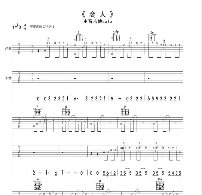 歌神都抢这首歌唱《离人》吉他注音独奏solo-伴奏-谱例-吉他教学by胡sir音乐